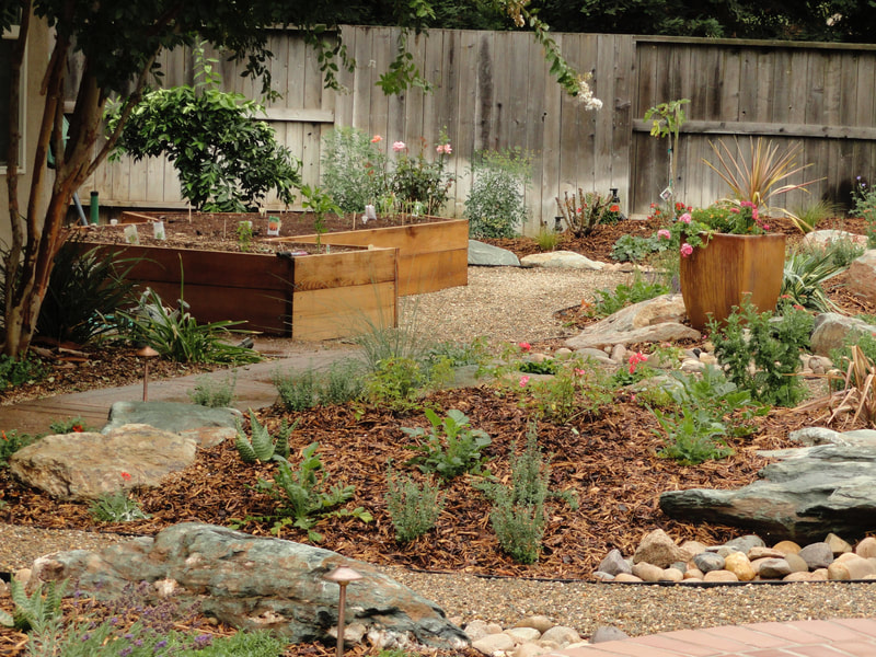 Lawnless landscape planter boxes